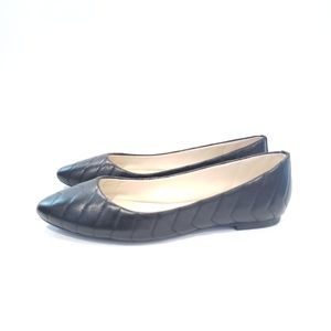 Karl Lagerfeld black leather quilted flats